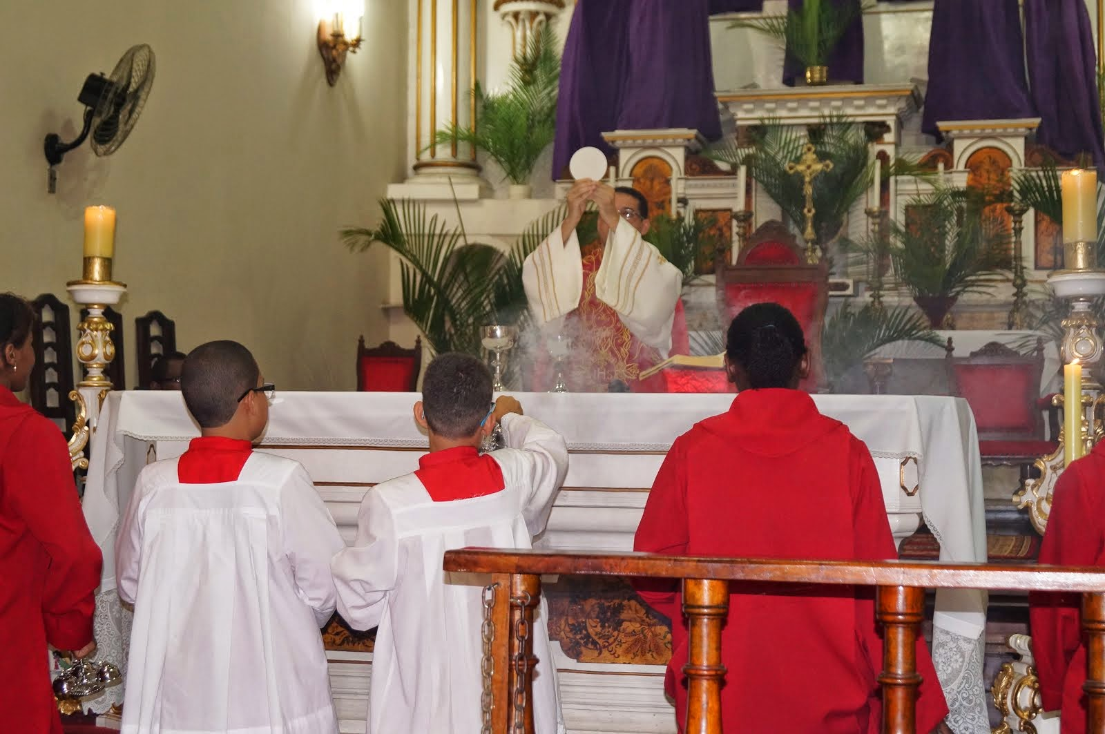 Frei Alessando preside a Última Missa do Domingo de Ramos em 13/04/2014