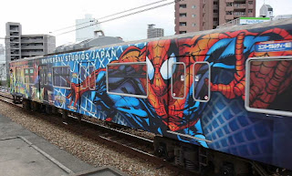 Spiderman decorated train
