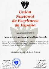 DIPLOMA CONCEDIDO POR LA UNIÓN NACIONAL DE ESCRITORES DE ESPAÑA.