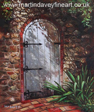 Decorative door in archway set in stone wall surrounded by plants at pecorama, oil painting