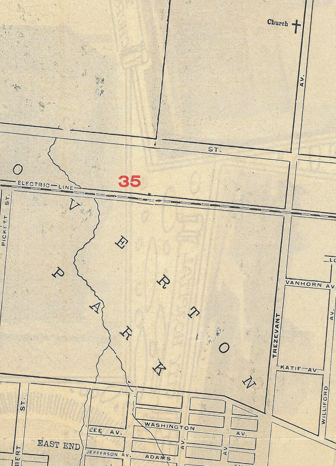 this map was printed when east parkway essentially ended at poplar the intersection of these two roadways is found towards the bottom right
