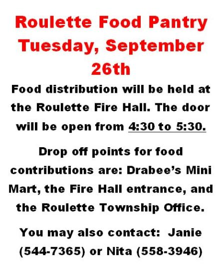 9-26 Roulette Food Pantry