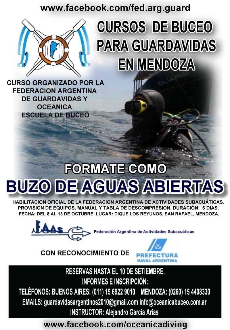 CURSO DE BUCEO PARA GUARDAVIDAS EN MENDOZA. FAG - OEOB - FAAS  Evento público. OCTUBRE 2012