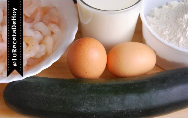 ingredientes para hacer tortitas de calabacin con gambas
