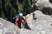 Benjamin Rubenstein climbing Bailey's Overhang at Boulder Canyon in Colorado