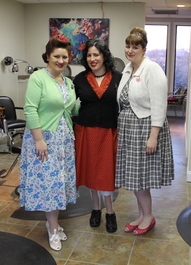 Nikki, Bunny Moreno and Brittany in vintage 1940s and 50s dresses