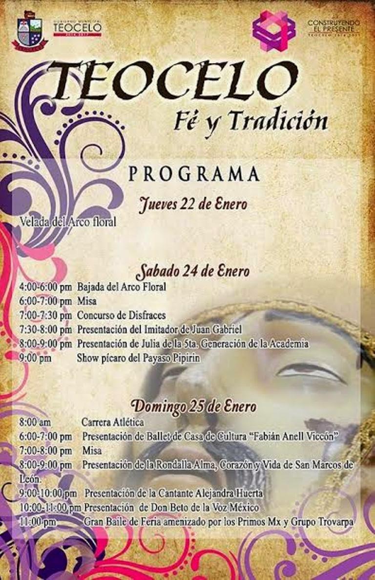 PROGRAMA DE FESTIVIDAD PATRONAL EN TEOCELO