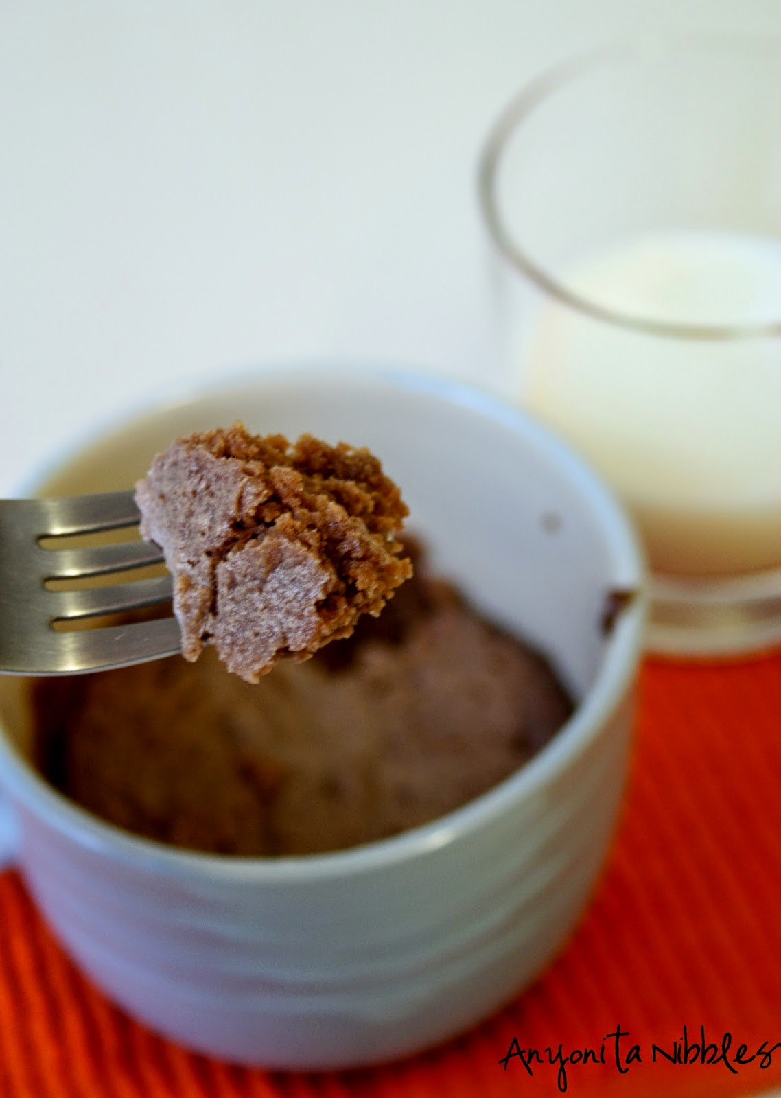 A forkful of peanut butter & Nutella mug cookie from Anyonita Nibbles