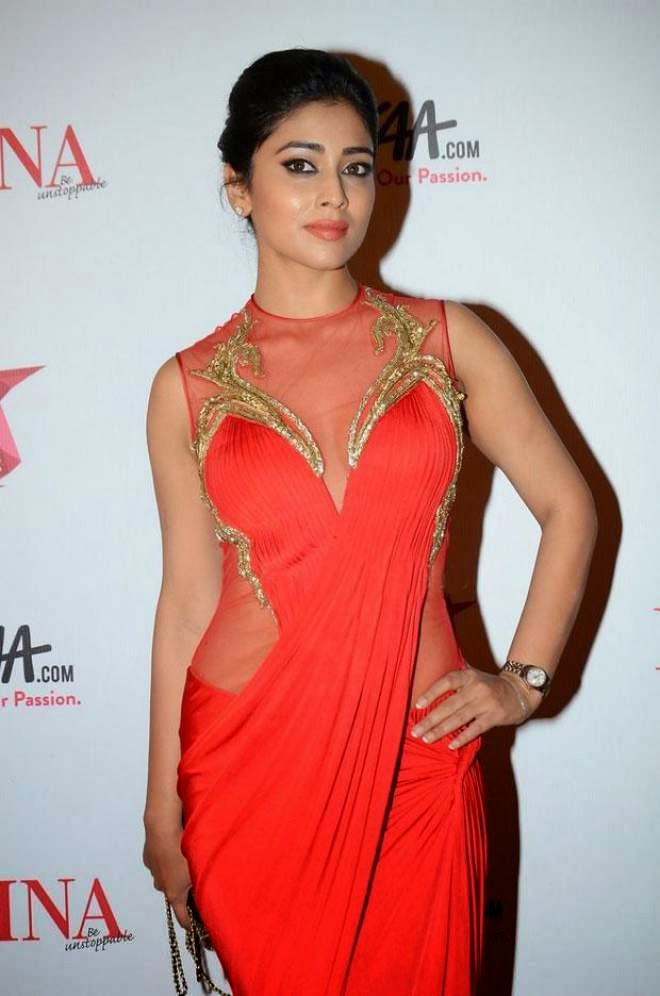 Shriya Saran Spicy Red Dress Photos