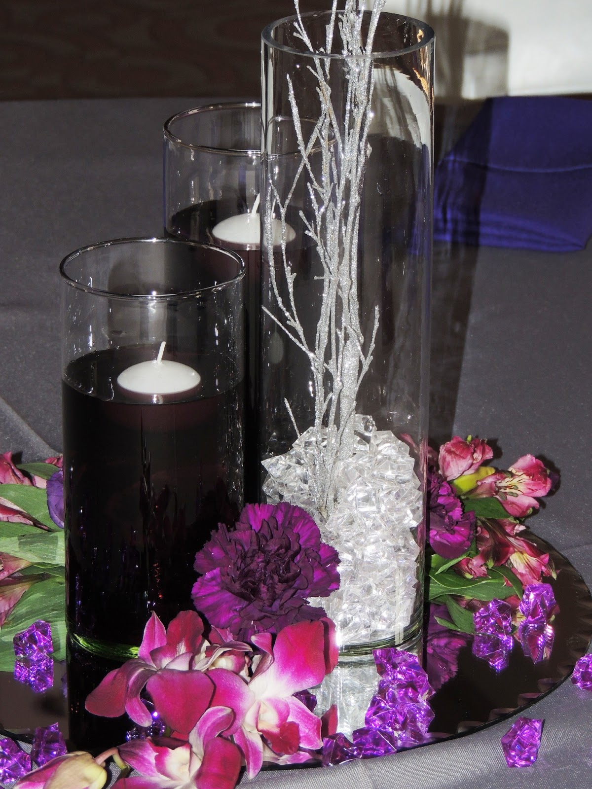 Florals by crystal plum and silver wedding