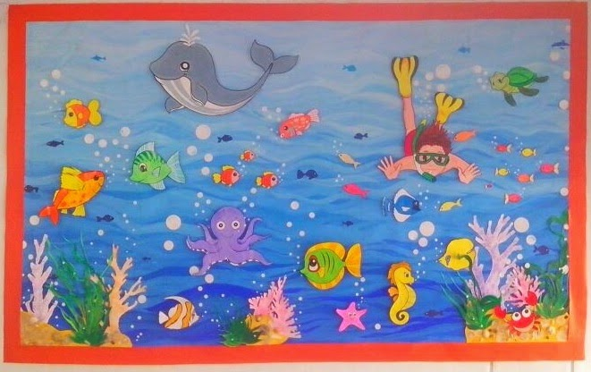 Aquarium wall decoration idea for pre school kids for Aquarium decoration paint