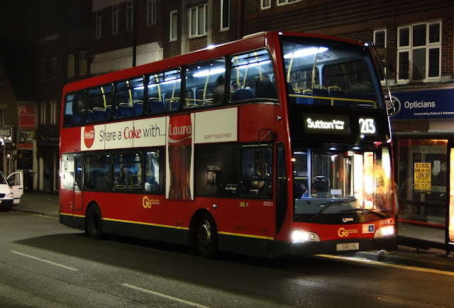 213 Bus in Central Road at night