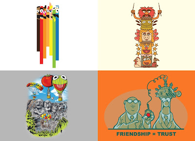 Disney x Threadless The Muppets T-Shirt Collection - Together Again, Friendship Totem, Epic Adventure & Friendship = Trust Designs