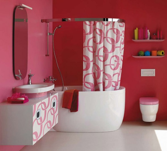Simple bathroom design with red curtain motif