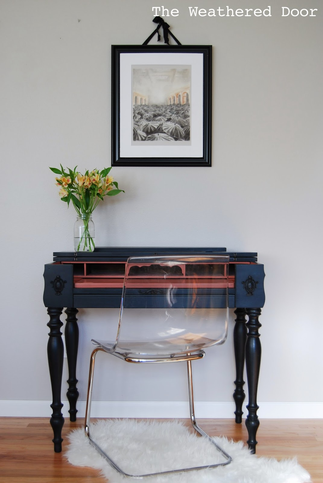 A Black and Salmon Spinet Desk - A Black And Salmon Spinet Desk - The Weathered Door