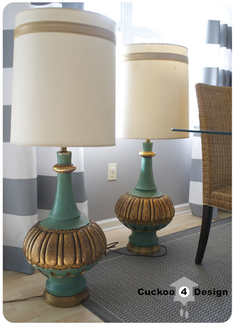 Gold and Turquoise Hollywood Regency Lamps