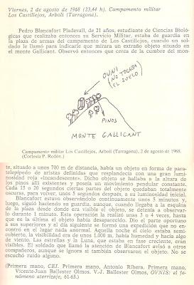 avistamiento en Los Castillejos, Tarragona 1968