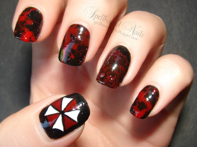 nails nailart nail art nailpolish polish Spellbound mani manicure movie character Resident Evil Retribution blood splatter fingerprint Umbrella Corporation zombie Alice