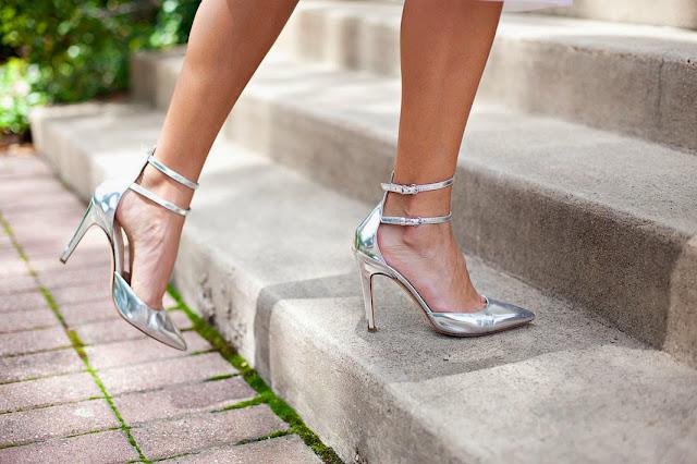 how to wear silver heels, j crew silver heels