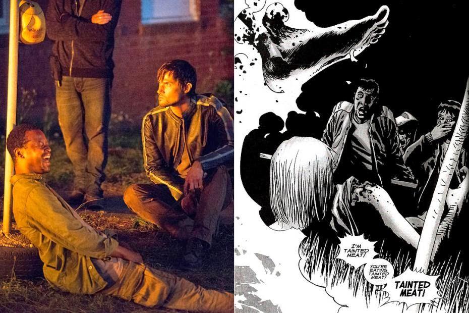 Los caníbales descubren que su víctima ha sido mordida por un zombie, en la serie y en el cómic