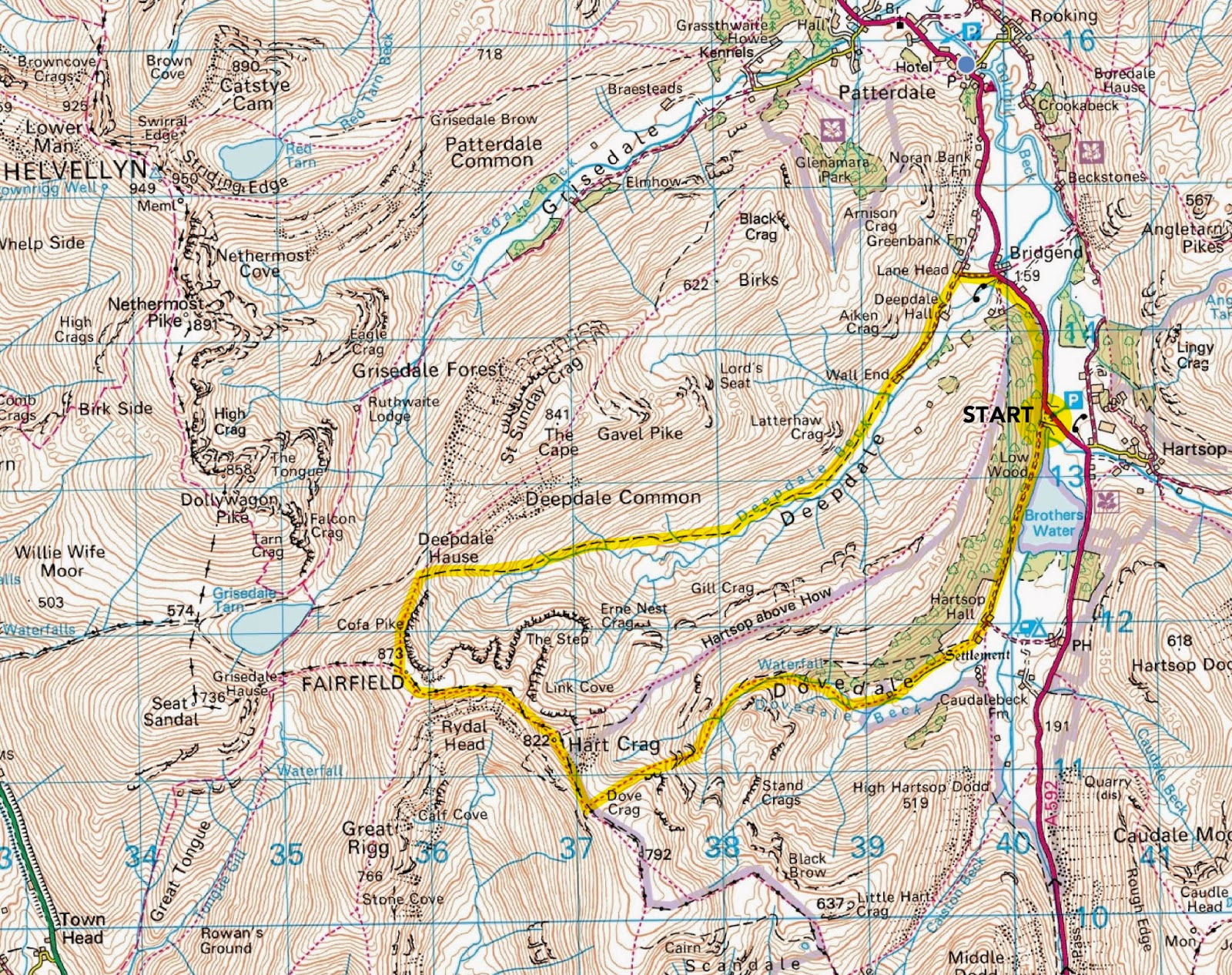Fairfield map route, horseshoe, lake district, dovedale, best walks, best view, deepdale