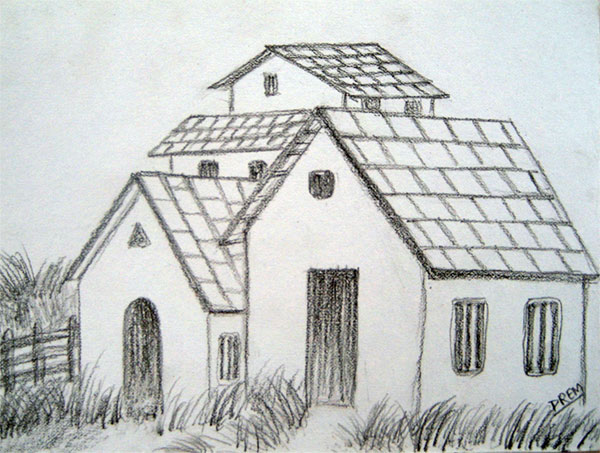 Art by prem com easy house landscape drawings for House drawing easy
