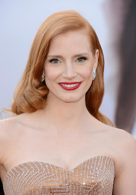 jessica chastain oscars 2013 makeup hair Mega Photo Collection From The Oscars 2013