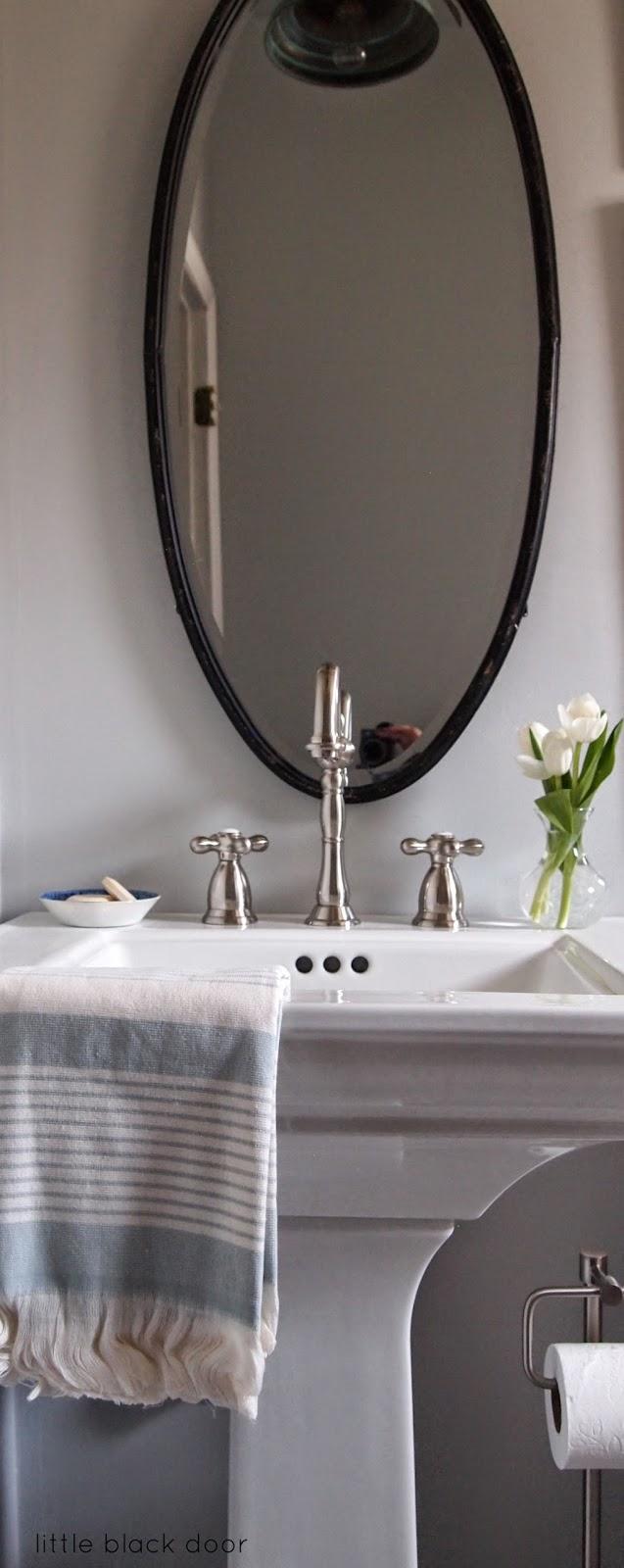 Oval Mirror Medicine Cabinet Little Black Door One Room Challenge The Bathroom Reveal