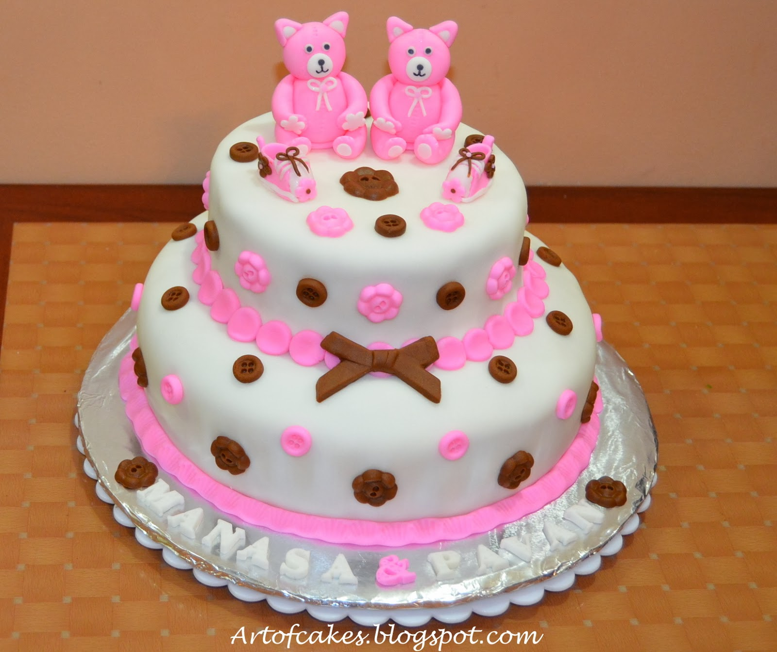 art of cakes baby shower cake twins