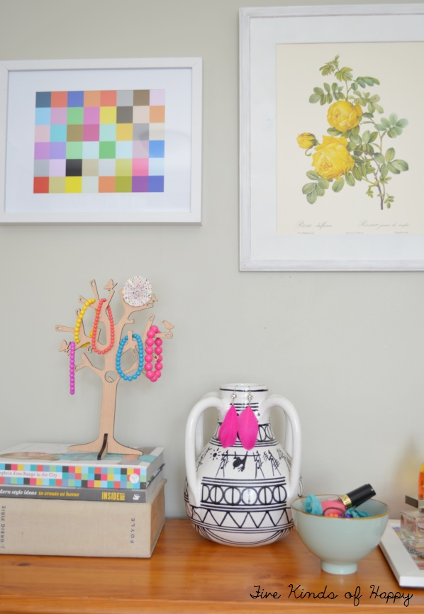 Five Kinds of Happy blog: bright bedroom vignette and wall art