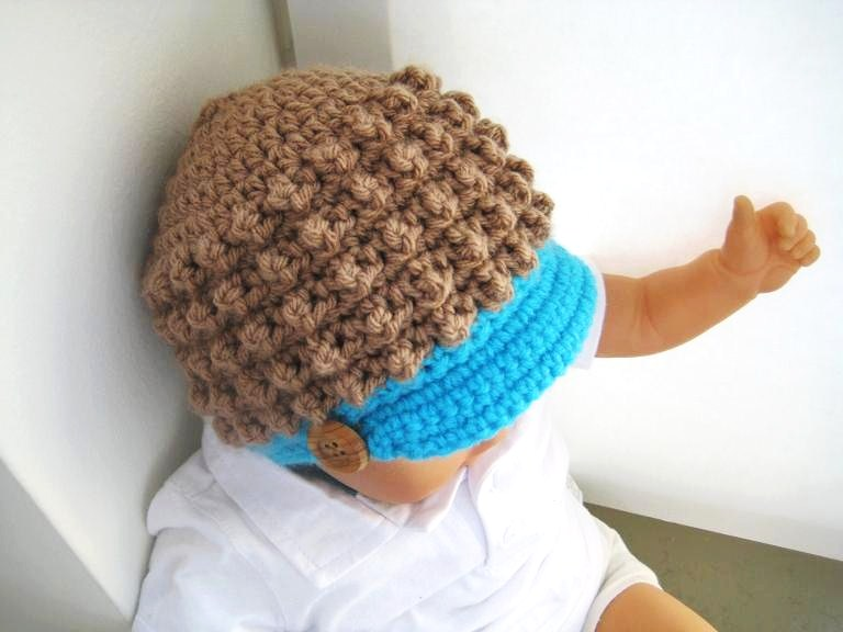 Crochet Baby Hat With Bill Pattern : Toddler Visor Beanie Crochet Pattern