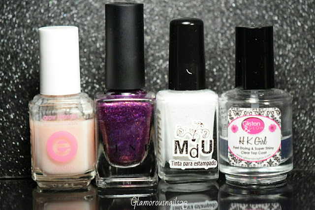 Essie Grow Stronger, ILNP Poetry, Mundo De Unas White, Glisten & Glow HK Girl Fast Drying Top Coat