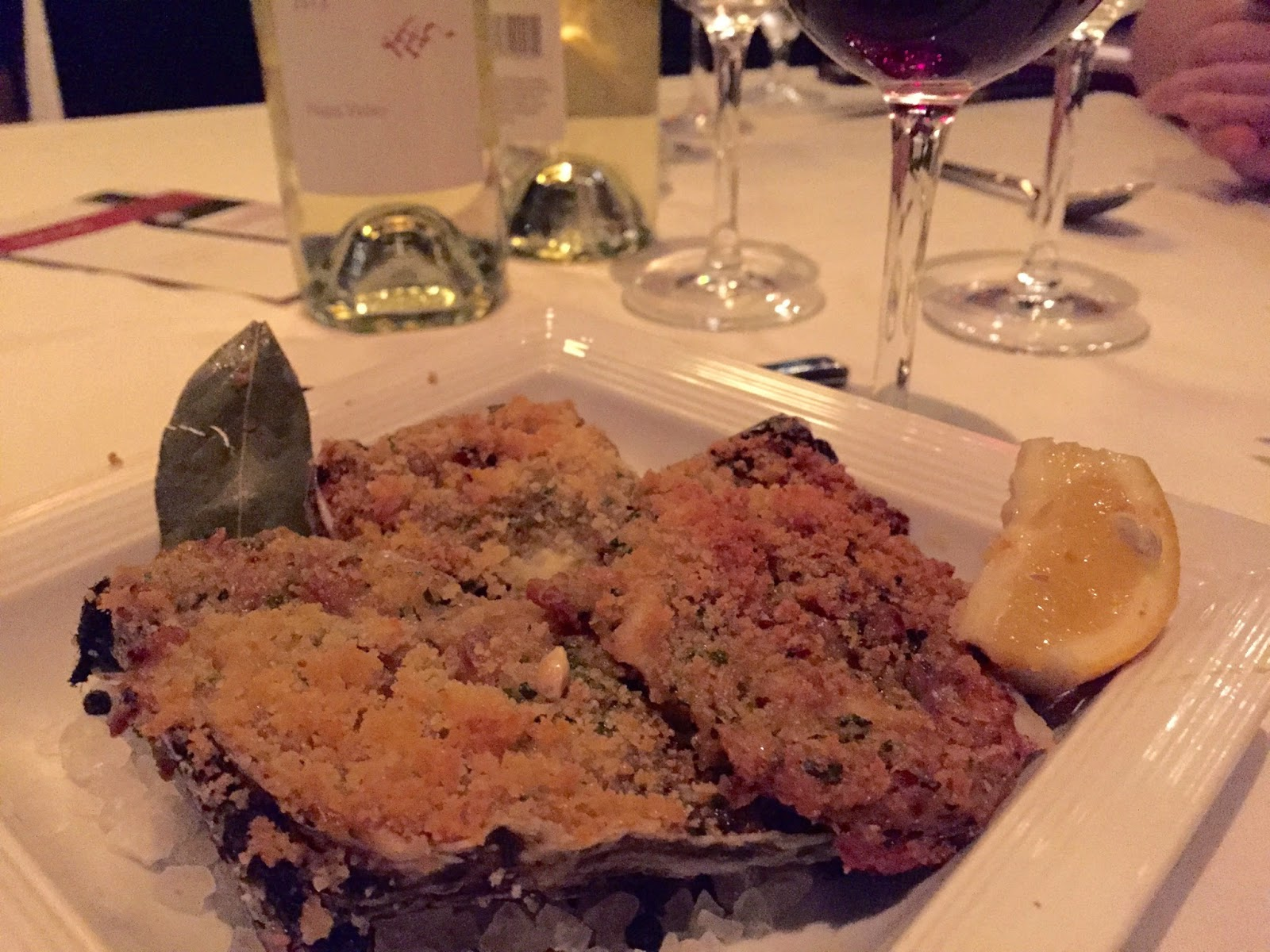 Louisiana Roasted Oysters Casino with bacon, Parmesan, and Pernod Paired with the Walt Blue Jay Anderson Valley Pinot Noir 2012