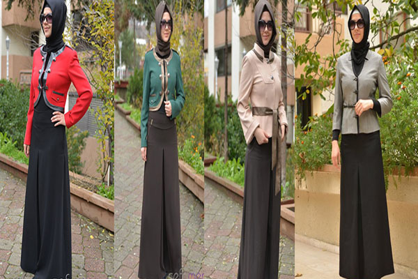 ملابس محجبات 2013 - إطلالة التنورة للمحجبات 2013