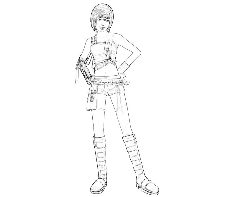 Printable Yuffie Yuffie Look Coloring Pages title=