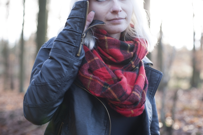 Leather jacket tartan scarf
