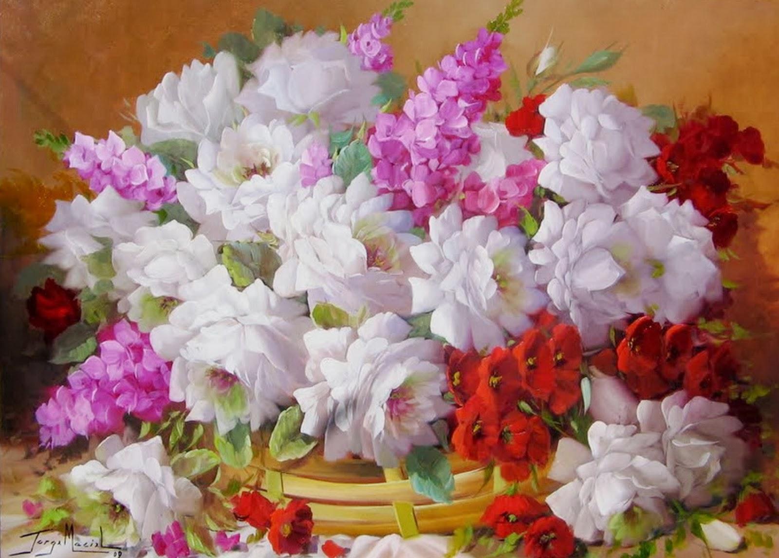 Flores Pintadas al Óleo Cuadros en Realismo | Bodegones y Paisajes ...