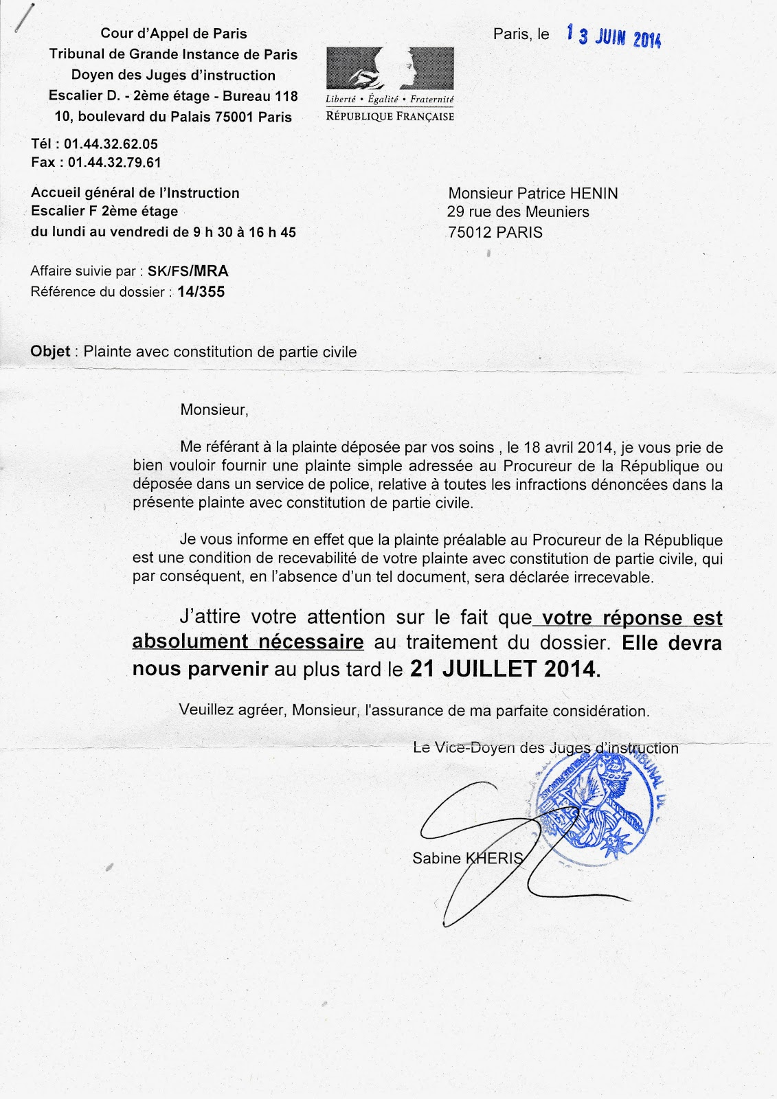 P h nix blogue qui rena t toujours de ses censures 2014 04 14 plainte contre policiers au juge - Lettre de plainte pour nuisances sonores ...