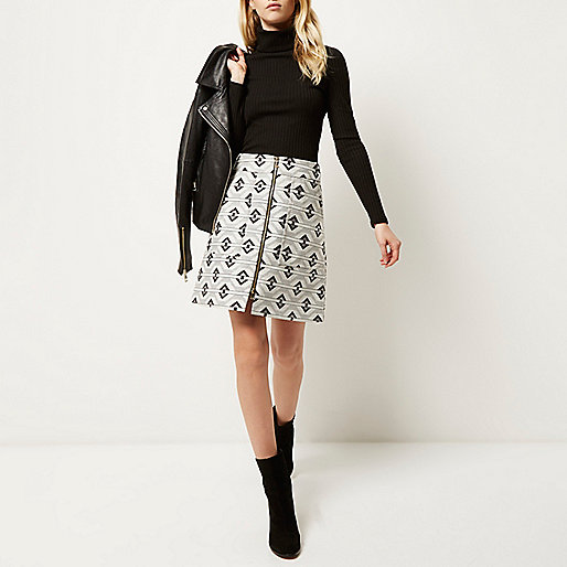 river island grey print skirt,