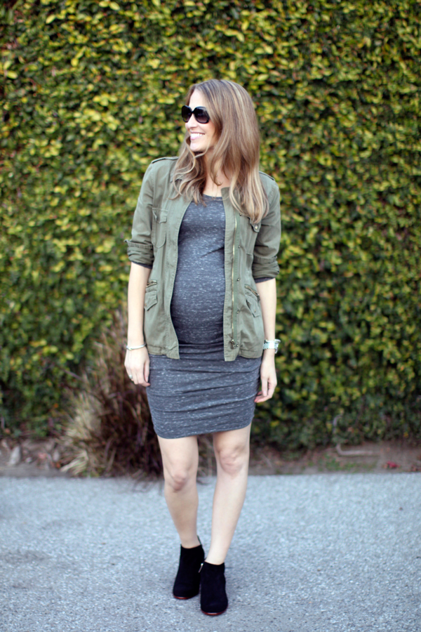 Ingrid & Isabel maternity dress, Velvet fatigue jacket & Sam Edelman booties