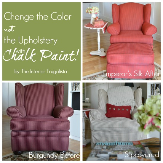 Wing Chair Before, Slipcovered, and then painted with chalk paint