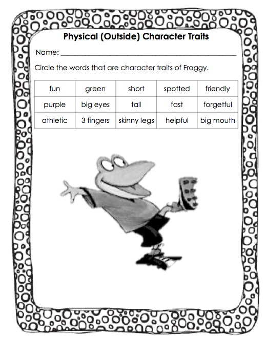 Floating Through First Grade Character Traits – Identifying Character Traits Worksheet