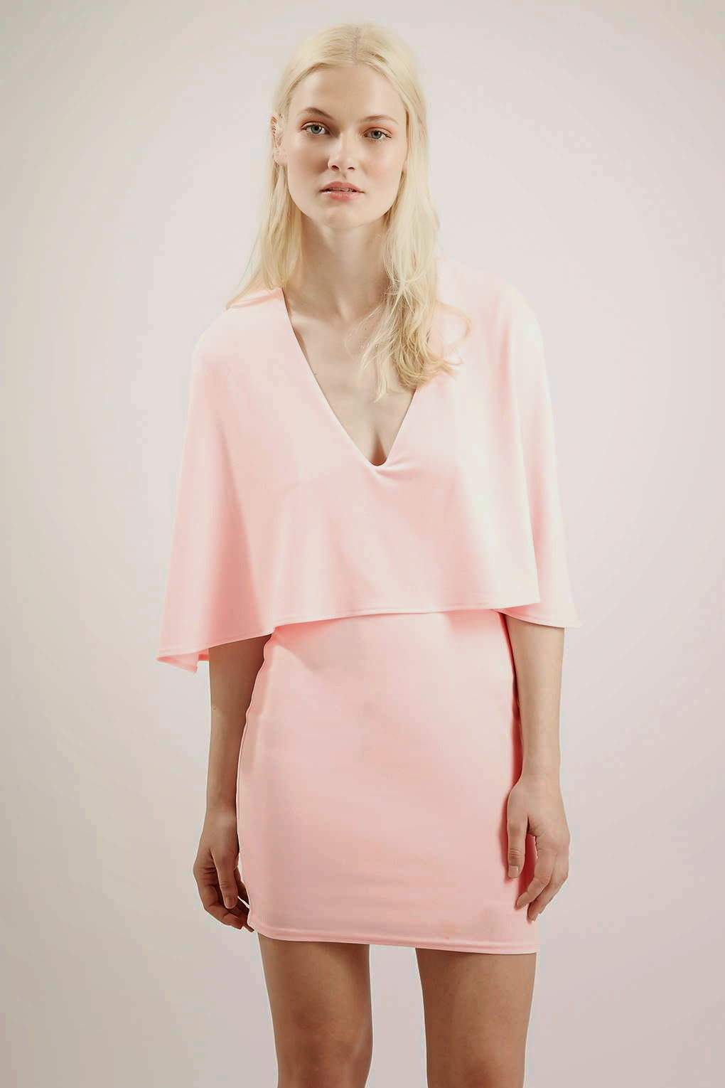 cape dress, oh my love cape dress, pink cape dress,