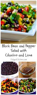 Black Bean and Pepper Salad with Cilantro and Lime [from KalynsKitchen.com]