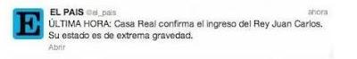 Tuit falso de El País