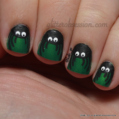Halloween Nail Art Challenge: Spiders (no top coat)