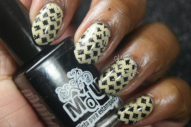 Nude & Black Stamping Nail Art