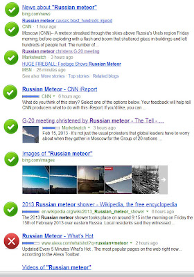 Bing search for 'Russian meteor'