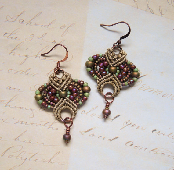 Micro macrame earrings by Sherri Stokey.