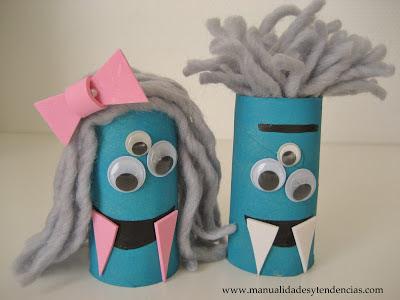 Tutorial de monstruos de Halloween hechos con rollos de papel higiénico. Toilet paper monsters DIY. Tutoriel monstres de rouleau de papier toilette